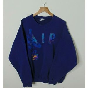 Vintage Nike Gray Tag Crewneck Sweatshirt XL Blue